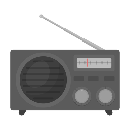 am radio: Radio advertising icon in cartoon style isolated on white background. Advertising symbol vector illustration.