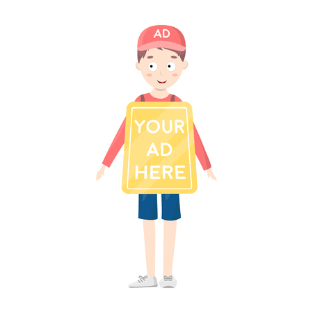 Human billboard icon in cartoon style isolated on white background. Advertising symbol vector illustration.