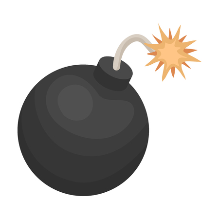 gunpowder: Pirate grenade icon in cartoon style isolated on white background. Pirates symbol vector illustration.