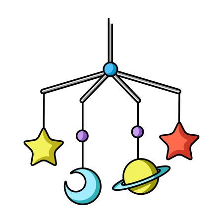 Baby crib icon in cartoon style isolated on white background. Baby born symbol vector illustration. Illustration