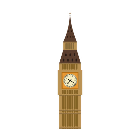 Big Ben icon in cartoon style isolated on white background. England country symbol vector illustration. Vector Illustration