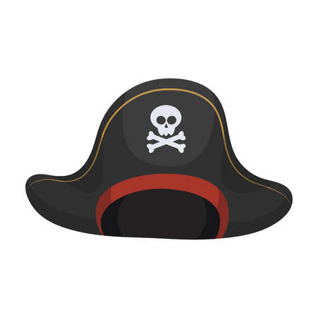 Pirate hat with skull icon in cartoon style isolated on white background. Pirates symbol vector illustration.