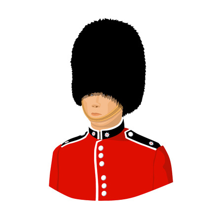 royal person: Queens guard icon in cartoon style isolated on white background. England country symbol vector illustration.