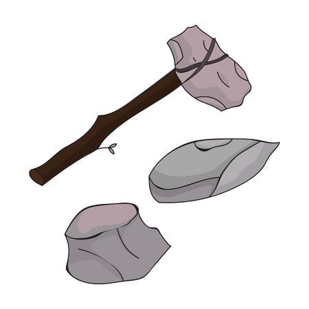 caveman: Stone tools icon in cartoon style isolated on white background. Stone age symbol vector illustration. Illustration