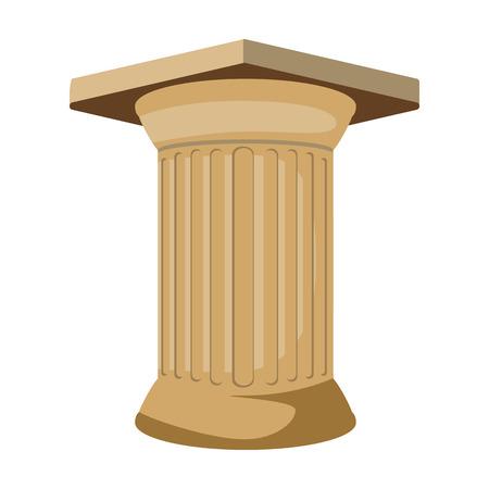 roman pillar: Antique column icon in cartoon style isolated on white background. Greece symbol vector illustration.