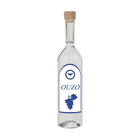 Bottle of ouzo icon in cartoon style isolated on white background. Greece symbol vector illustration.