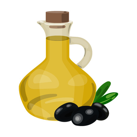 Olive oil bottle with cartoon olives branch icon in cartoon style isolated on white background. Greece symbol vector illustration.