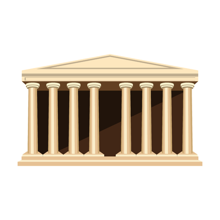 roman pillar: Antique greek temple icon in cartoon style isolated on white background. Greece symbol vector illustration.