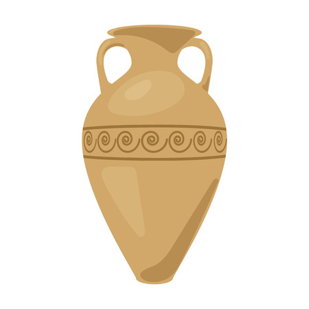 Grèce icône amphore dans le style de dessin animé isolé sur fond blanc. Grèce symbole illustration vectorielle. Vecteurs