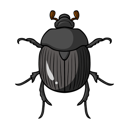 geotrupidae: Dor-beetle icon in cartoon design isolated on white background. Insects symbol stock vector illustration.