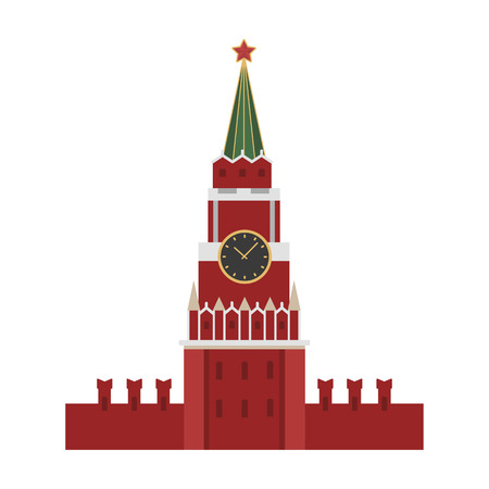 Kremlin icon in cartoon design isolated on white background. Russian country symbol stock vector illustration. Vettoriali