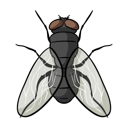 Fly icon in cartoon design isolated on white background. Insects symbol stock vector illustration. Ilustracja