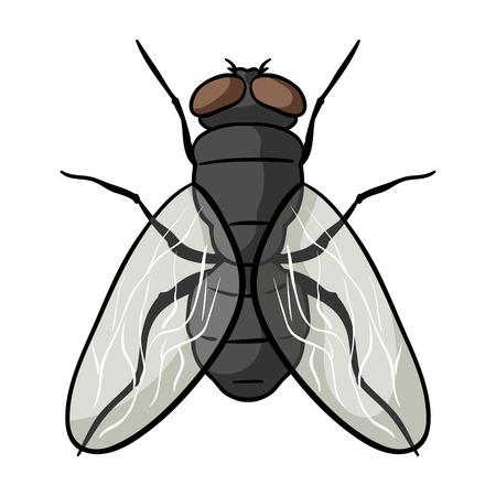 Ikony Fly w projektowaniu kreskówek na białym tle. Insekta symbol Stockowa ilustracja wektorowa. Ilustracje wektorowe