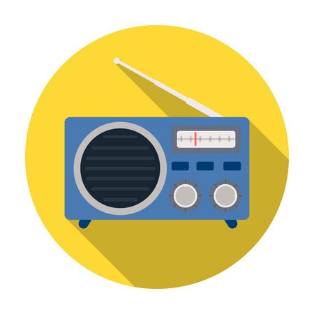 fm radio: Radio advertising icon in flat style isolated on white background. Advertising symbol vector illustration.