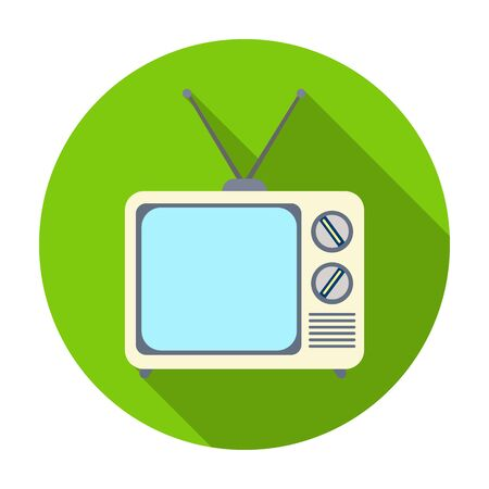 Television advertising icon in flat style isolated on white background. Advertising symbol vector illustration.