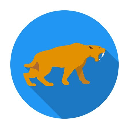 Saber-toothed tiger icon in flat style isolated on white background. Stone age symbol vector illustration.