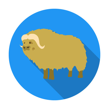 Muskox of stone age icon in flat style isolated on white background. Stone age symbol vector illustration.