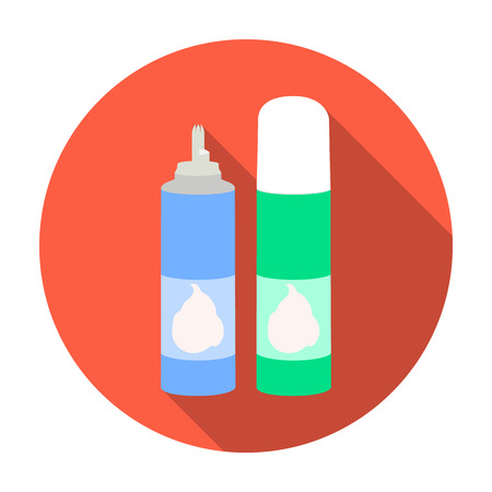 aerosol: Whipped cream in an aerosol can icon in flat style isolated on white background. Milk product and sweet symbol vector illustration. Illustration