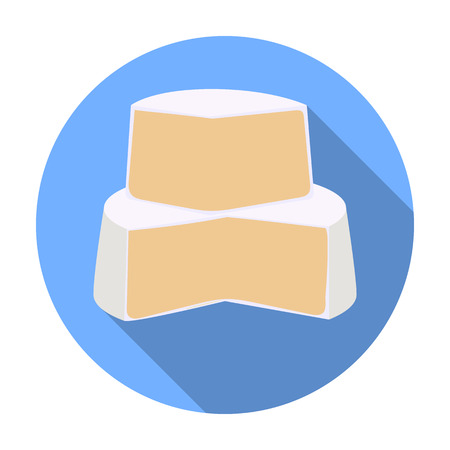 french board: Soft cheese icon in flat style isolated on white background. Milk product and sweet symbol vector illustration.