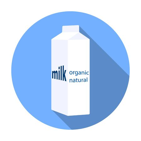 gable: Milk gable top carton package icon in flat style isolated on white background. Milk product and sweet symbol vector illustration.