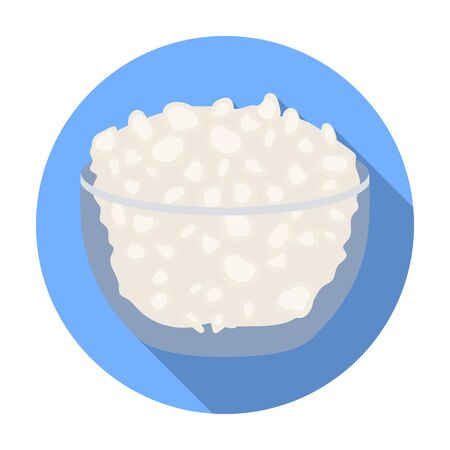 cottage cheese: Cottage cheese in the bowl icon in flat style isolated on white background. Milk product and sweet symbol vector illustration.
