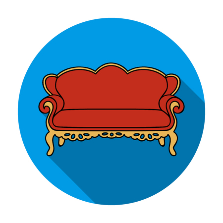 Vintage sofa icon in flat style isolated on white background. Furniture and home interior symbol vector illustration.