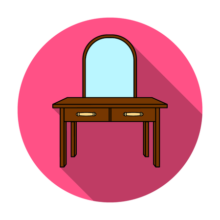 dressing: Dressing table icon in flat style isolated on white background. Furniture and home interior symbol vector illustration.