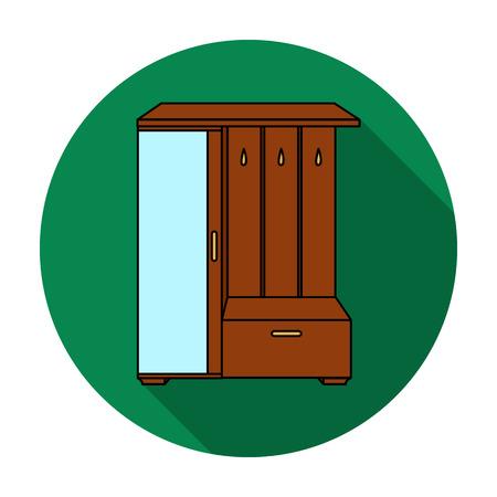 vestibule: Vestibule wardrobe icon in flat style isolated on white background. Furniture and home interior symbol vector illustration.