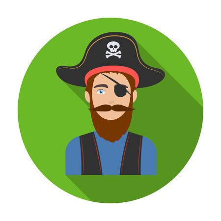 costume eye patch: Pirate with eye patch icon in flat style isolated on white background. Pirates symbol vector illustration.