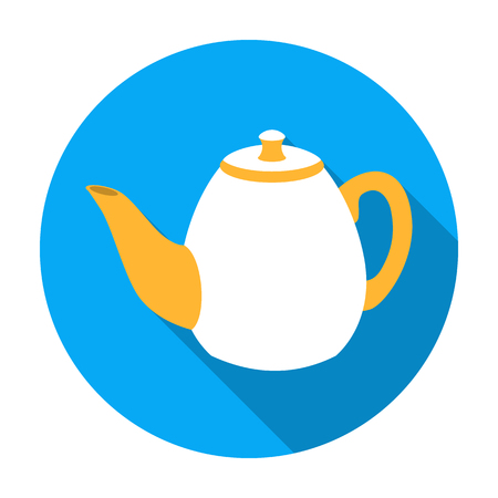 country kitchen: Teapot icon in flat style isolated on white background. England country symbol vector illustration.