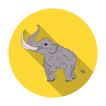 Woolly mammoth icon in flat style isolated on white background. Stone age symbol vector illustration. Illustration