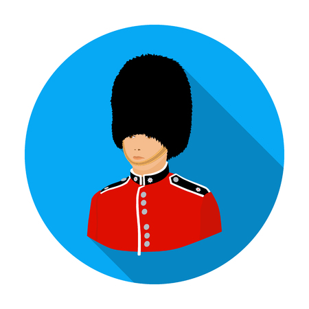 bearskin: Queens guard icon in flat style isolated on white background. England country symbol vector illustration.