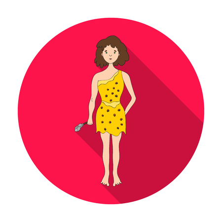 neanderthal women: Cavewoman with stone tool icon in flat style isolated on white background. Stone age symbol vector illustration. Illustration