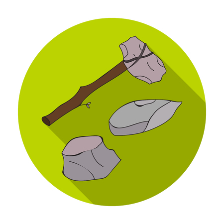 axe: Stone tools icon in flat style isolated on white background. Stone age symbol vector illustration.