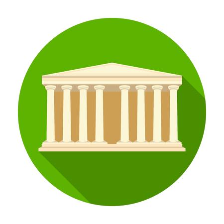 templo romano: Antigüedades icono de templo griego de estilo plano aislado en el fondo blanco. Grecia símbolo de la ilustración del vector.