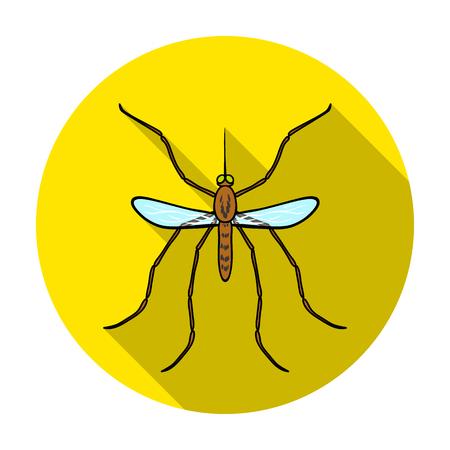 蚊アイコンを白い背景に分離したフラットなデザイン。昆虫のシンボル株式ベクトル図です。