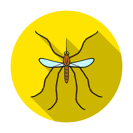 Mosquito icon in flat design isolated on white background. Insects symbol stock vector illustration.