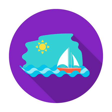 Sailing boat on the sea icon in flat style isolated on white background. Greece symbol vector illustration.