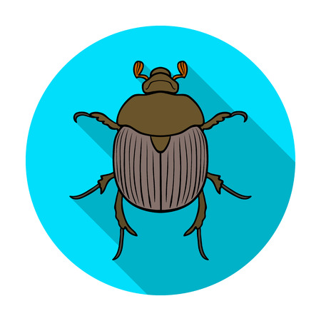 geotrupidae: Dor-beetle icon in flat design isolated on white background. Insects symbol stock vector illustration.