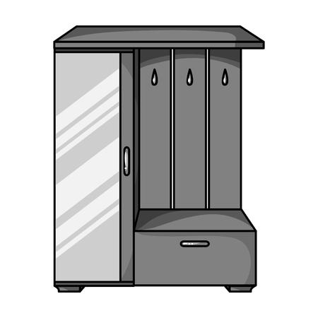 vestibule: Vestibule wardrobe icon in monochrome style isolated on white background. Furniture and home interior symbol vector illustration.