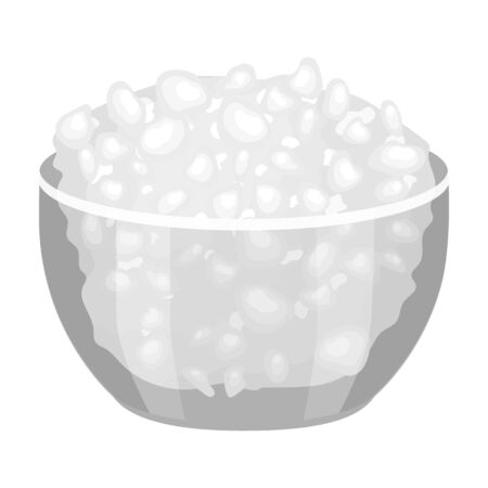 cottage cheese: Cottage cheese in the bowl icon in monochrome style isolated on white background. Milk product and sweet symbol vector illustration.