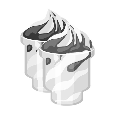frozen yogurt: Frozen yogurt with syrup in cups icon in monochrome style isolated on white background. Milk product and sweet symbol vector illustration. Illustration