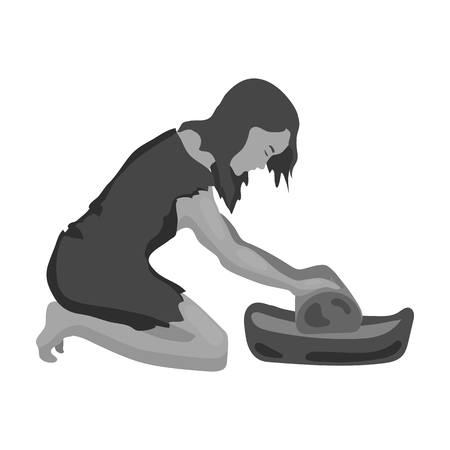 Cavewoman with grindstone icon in monochrome style isolated on white background. Stone age symbol vector illustration.