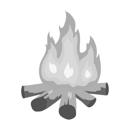 Campfire of stone age icon in monochrome style isolated on white background. Stone age symbol vector illustration. Illustration