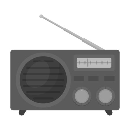 Radio advertising icon in monochrome style isolated on white background. Advertising symbol vector illustration. Illustration