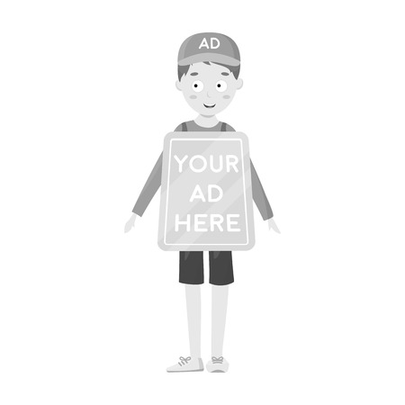 Human billboard icon in monochrome style isolated on white background. Advertising symbol vector illustration.
