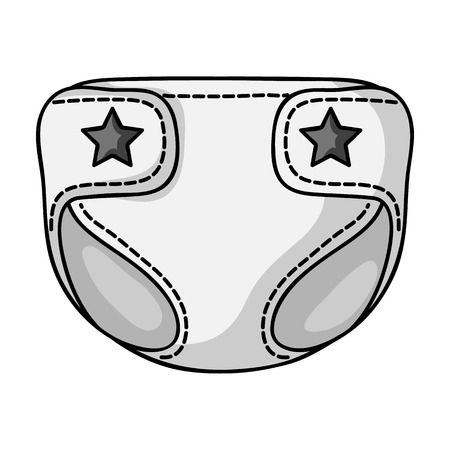 pampers: Baby diaper icon in monochrome style isolated on white background. Baby born symbol vector illustration.