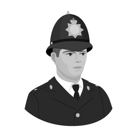 English policeman icon in monochrome style isolated on white background. England country symbol vector illustration. Illustration