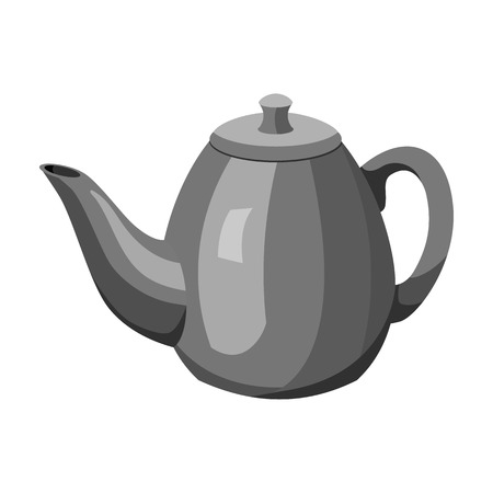 country kitchen: Teapot icon in monochrome style isolated on white background. England country symbol vector illustration. Illustration