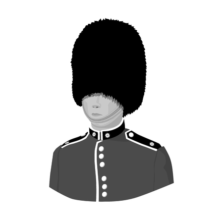 bearskin: Queens guard icon in monochrome style isolated on white background. England country symbol vector illustration.